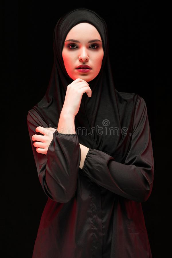 Portrait of young Muslim woman in traditional clothes royalty free stock photo