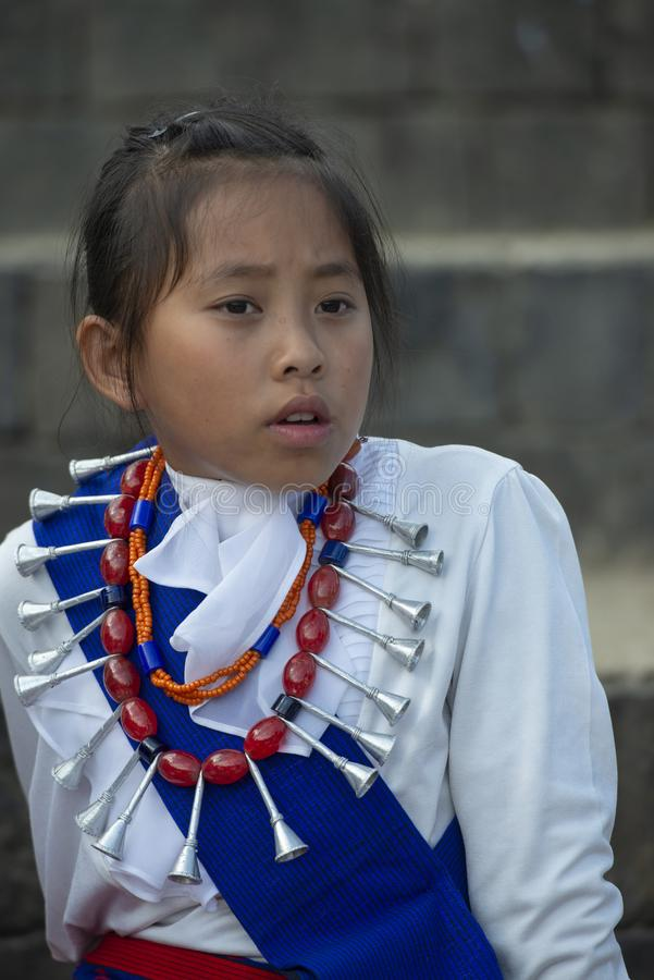 Portrait of a Young Naga Girl during Hornbill Festival,Nagaland,India royalty free stock images