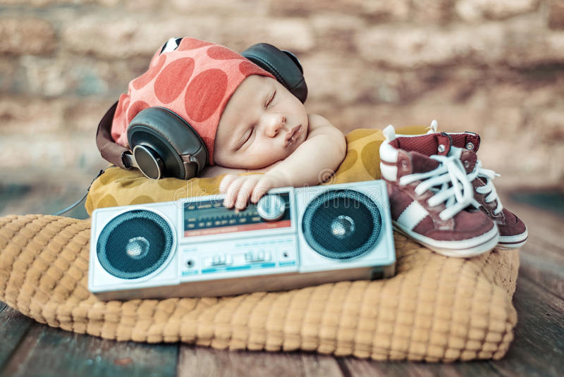 Portrait of the young newborn DJ stock image