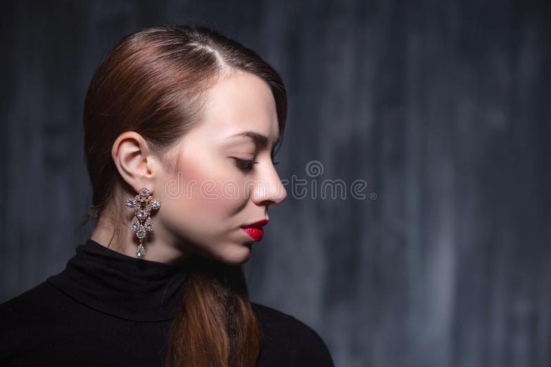 Portrait of a young nice woman royalty free stock photos
