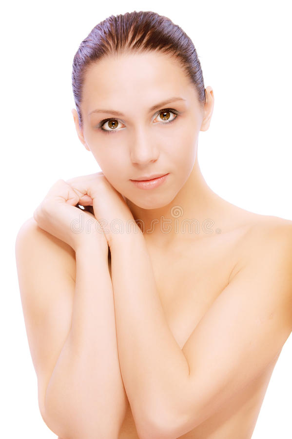 Portrait of young nude woman. On white background stock photography