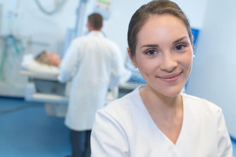 Portrait young nurse in hospital stock photo