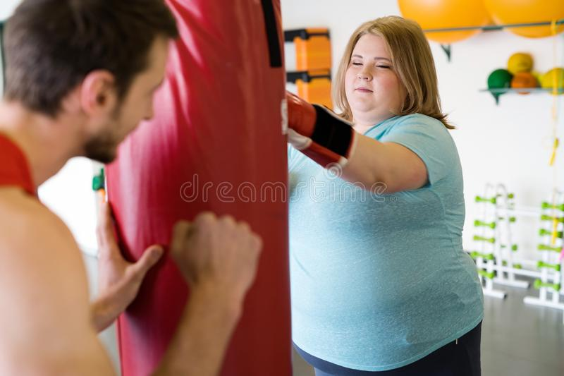 Obese Woman Working Out stock image