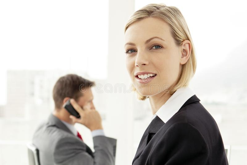 Portrait of a young office worker at a business meeting stock photos