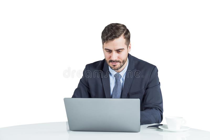Portrait of young office worker with laptop stock photo