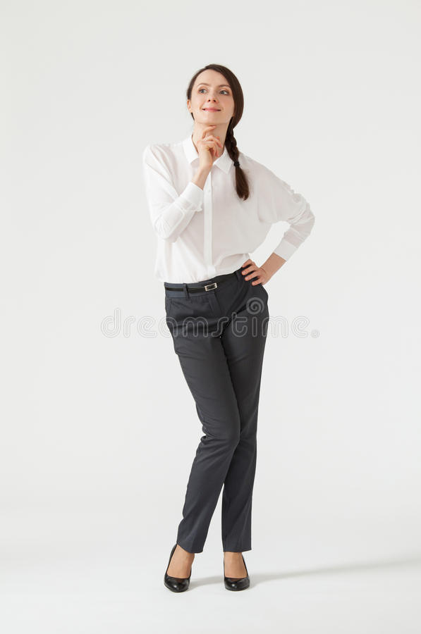 Portrait of a young pensive businesswoman royalty free stock images