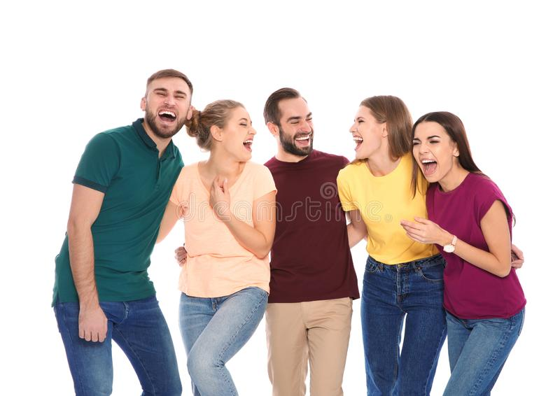 Portrait of young people laughing royalty free stock photo