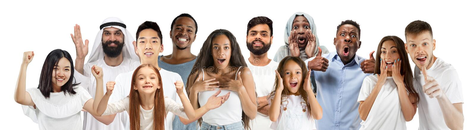 Portrait of young people looks astonished and happy on white background stock photos