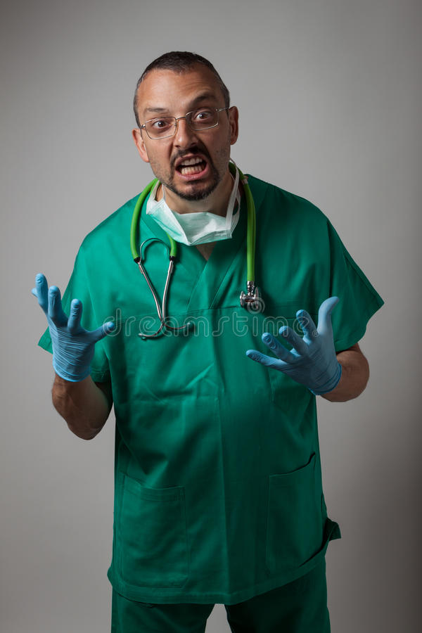 Download Portrait Of A Young Physician Shouting Stock Image - Image of portrait, male: 31218499