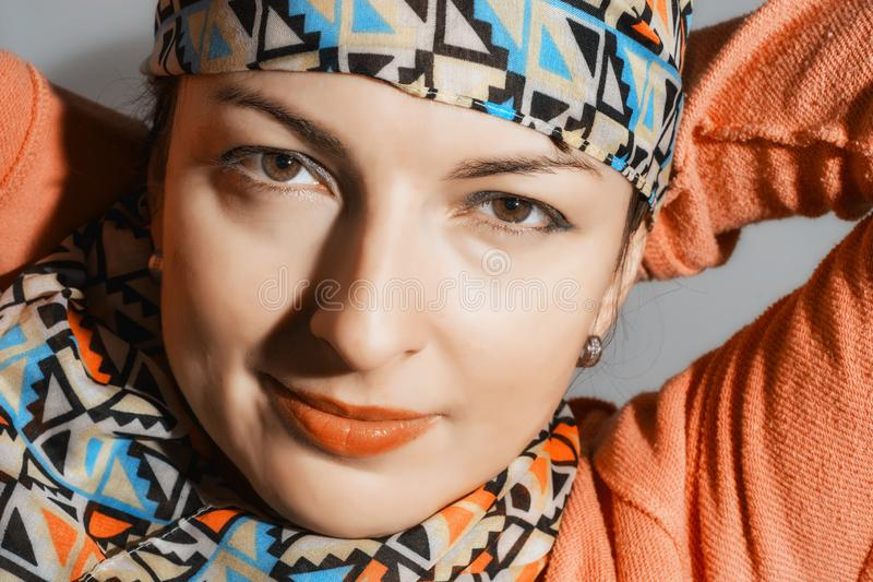 Portrait of a young positive woman stock images