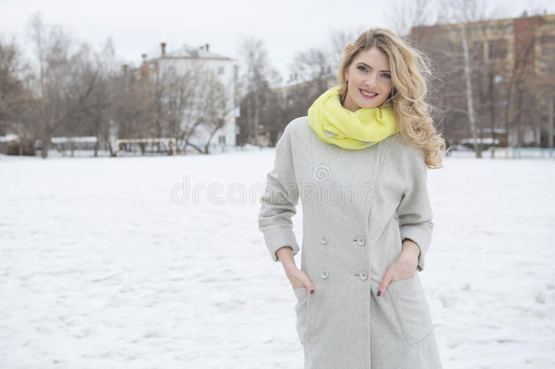 Portrait of young pretty girl in big city royalty free stock photography