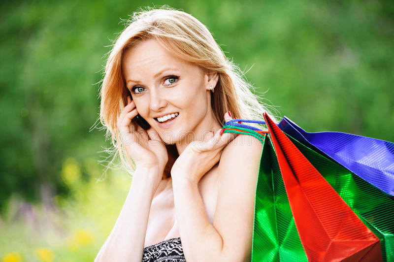 Download Portrait Of Young Pretty Woman Stock Image - Image of happy, cellphone: 20891473