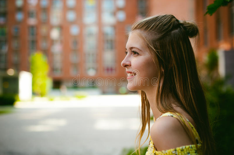 Young beautiful woman, warm summer sunny day royalty free stock photos