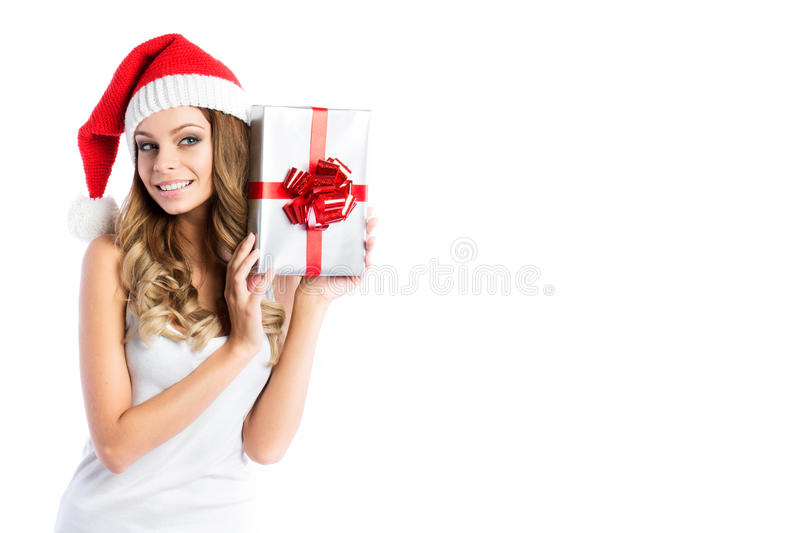 Portrait of young pretty woman celebrating Xmas and Happy New year. royalty free stock image