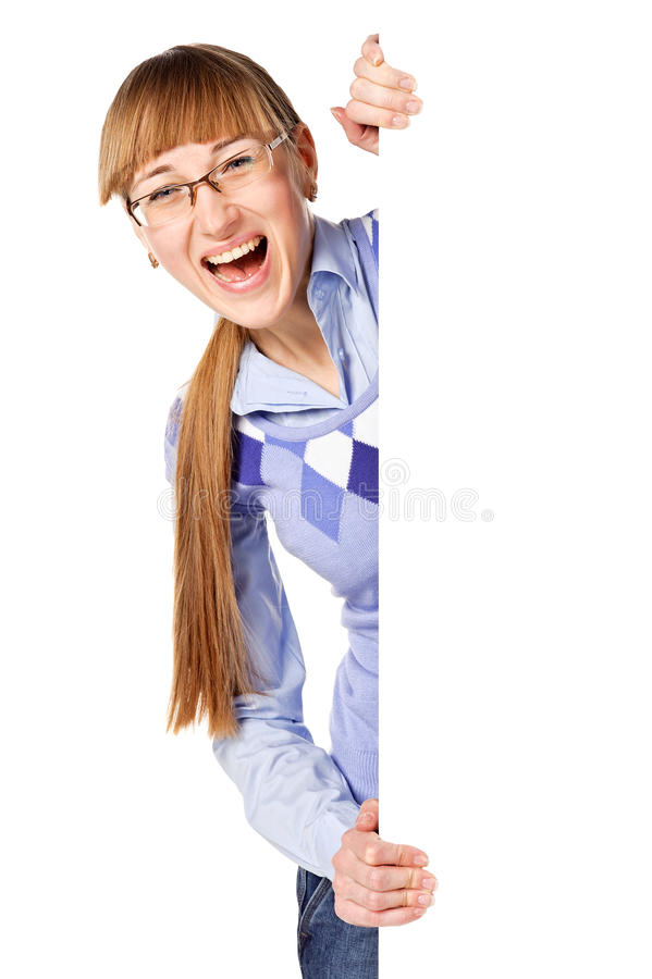 Download Portrait Of A Young Pretty Woman Holding A Banner Stock Photo - Image: 23186614