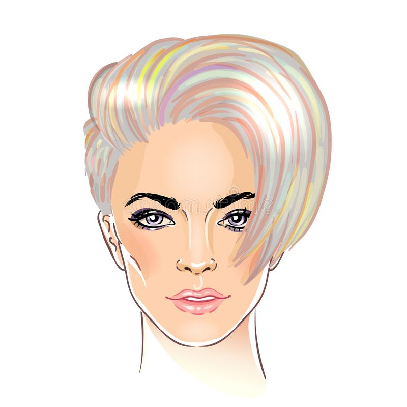 Portrait of a young pretty woman with short pixie cut. Purple ha stock illustration