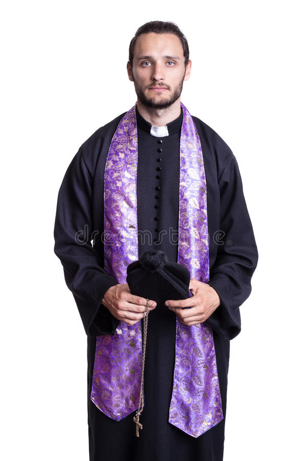 Portrait of young priest stock image