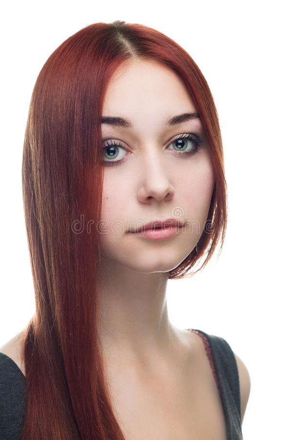 Portrait of young red-haired woman isolated. Over white background stock photos