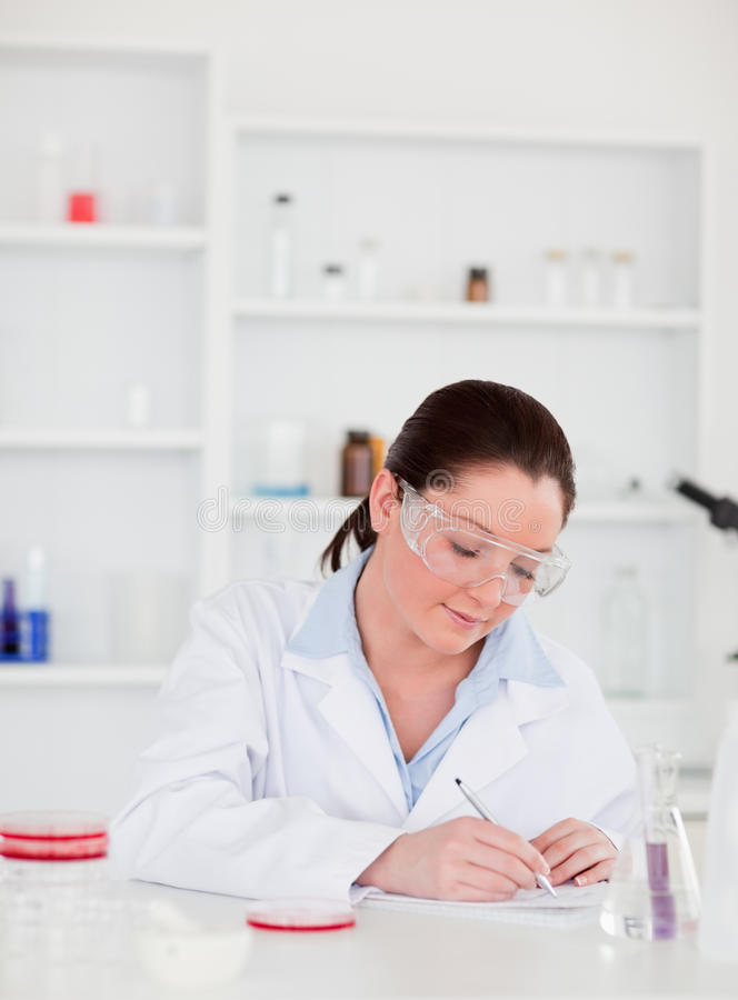 Portrait of a young scientist preparing a report stock images