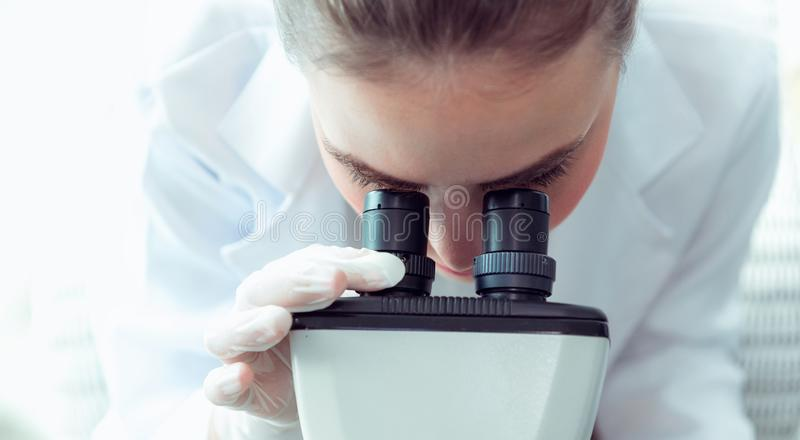 Portrait of young scientist research using microscope in a labor stock images