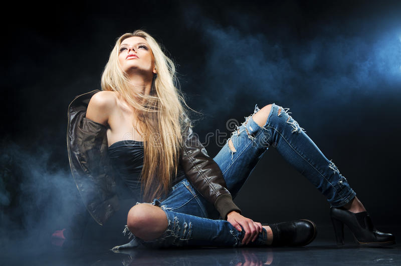 Portrait of young seductive woman royalty free stock images