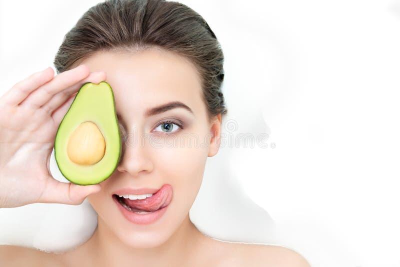 Portrait of woman taking spa bath. Skin beauty health care concept stock photo