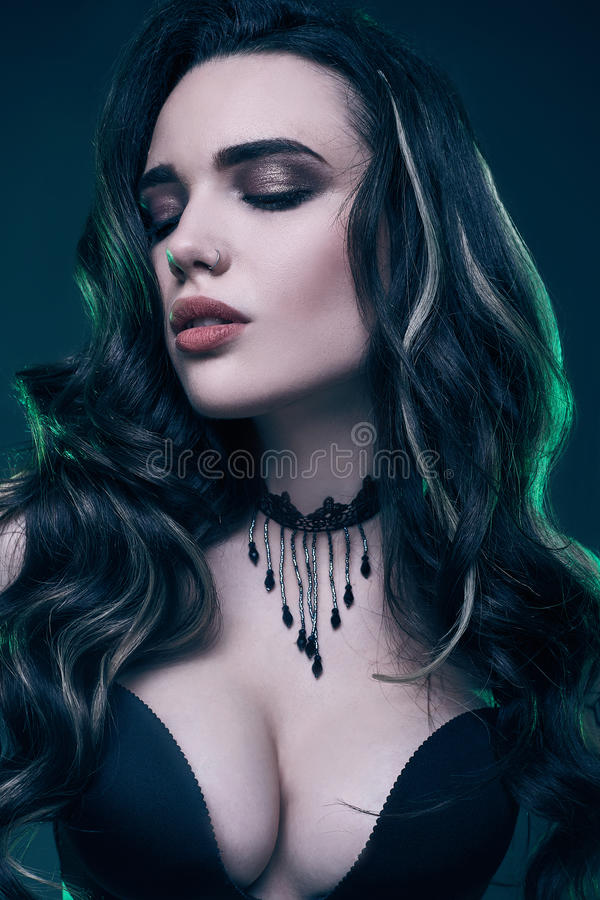 Portrait Beautiful Sexy Darkhaired Woman Red Stock Photo