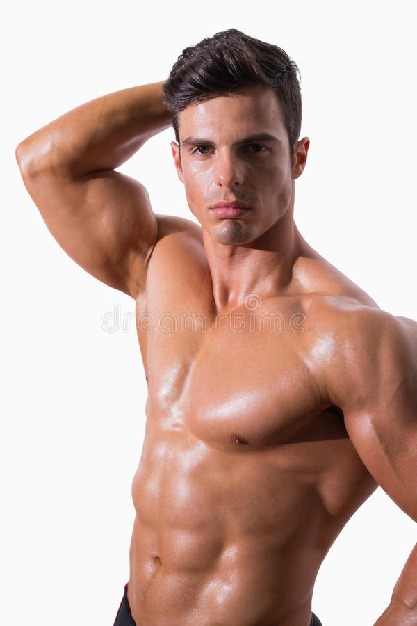 Portrait of a young shirtless muscular man stock images