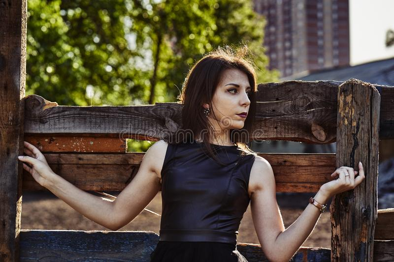 Portrait of a young slim woman brunette in a black dress near a wooden fence. Summer sunny evening stock image