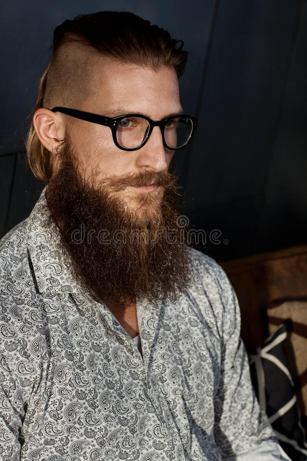 Portrait of young smart bearded man in glasses royalty free stock photo