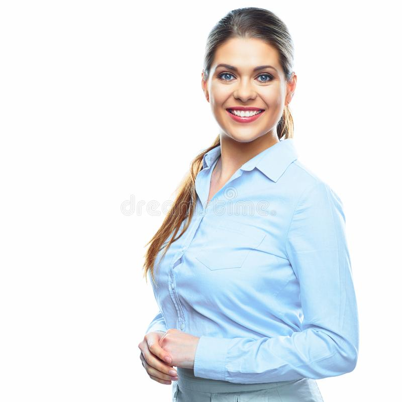Portrait of young smiling business woman on white background stock photo