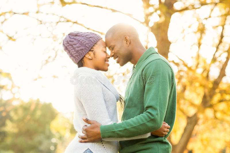 Portrait of a young smiling couple embracing royalty free stock image