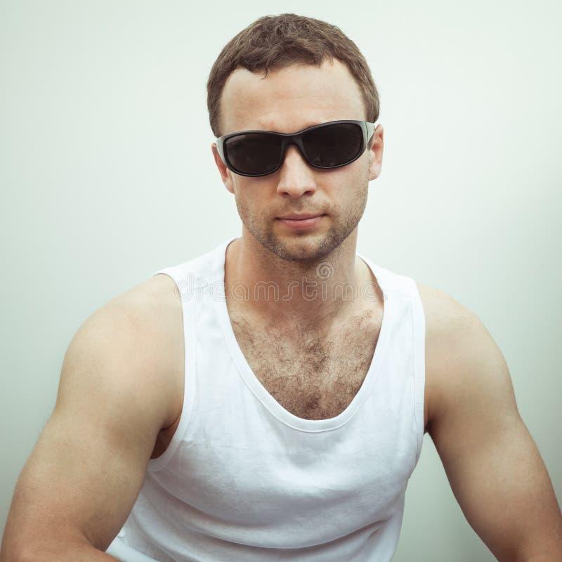 Portrait of Young sporty serious European man royalty free stock photos