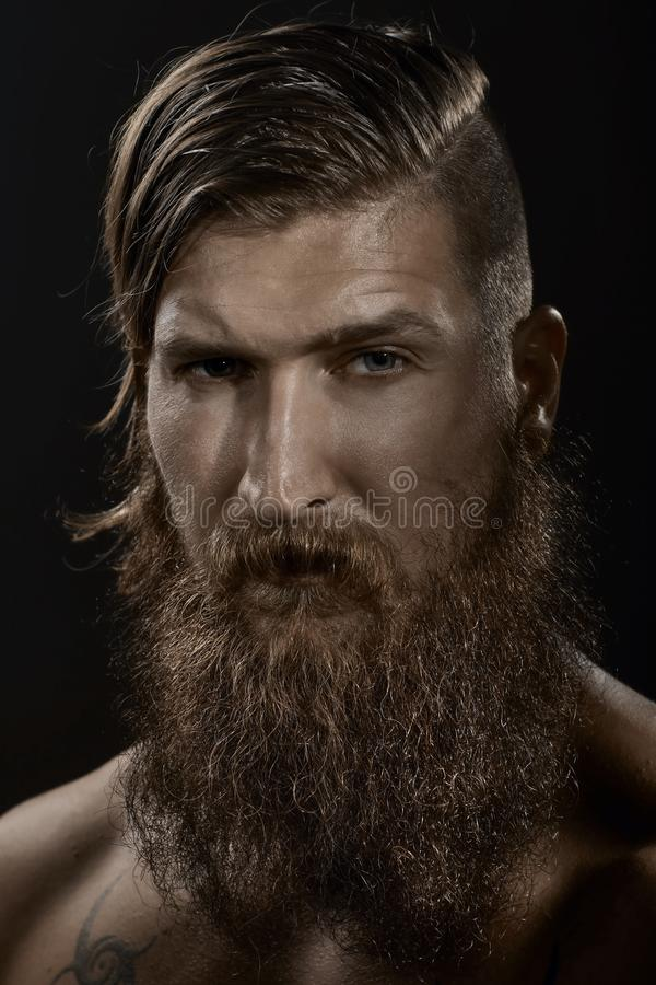 Portrait of a young stylish bearded man stock photos