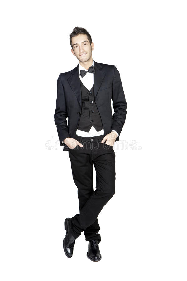 Portrait of young stylish man in tuxedo royalty free stock photos