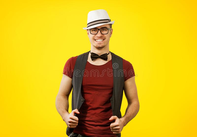 Portrait of young succesful stylish hipster man royalty free stock photography