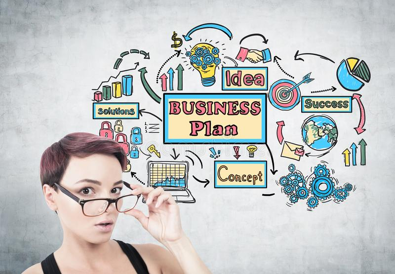 Surprised woman taking off glasses, business plan royalty free stock photos