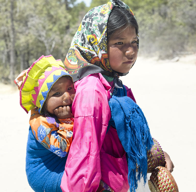 Portrait of young Tarahumara native girls stock photos
