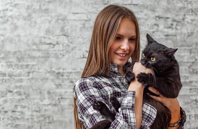 Portrait of young teenager brunette girl with long hair holding in her arms black cat on gray wall background. With copy space royalty free stock image