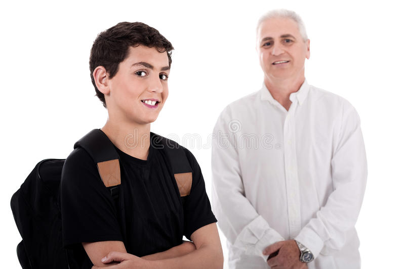 Portrait of young teenager with his grandfather. On white background stock images