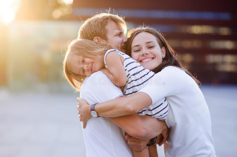Portrait of a young united family. stock images