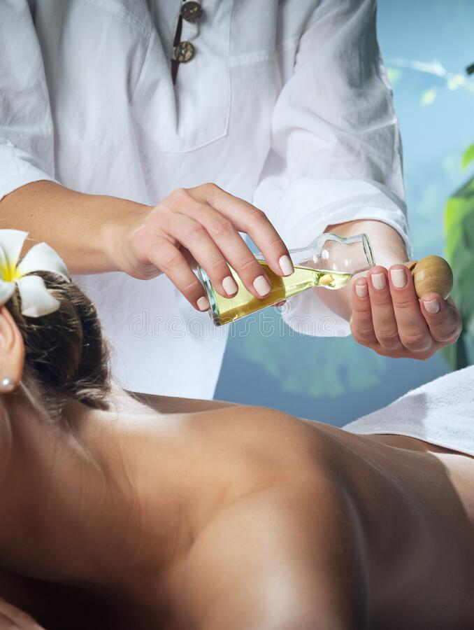 Portrait of young beautiful woman in spa environment. stock photography