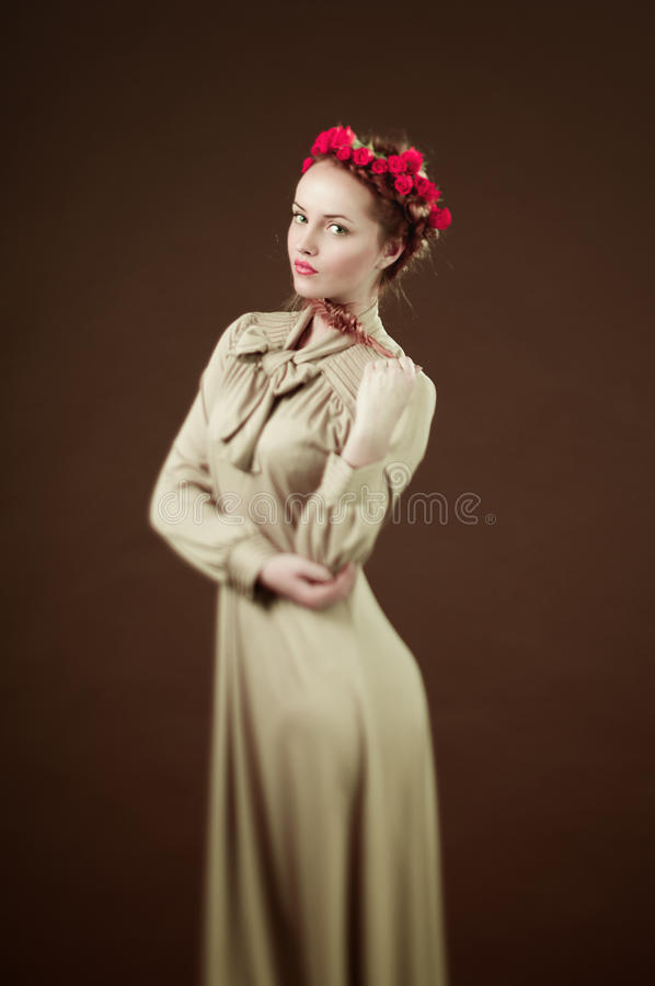 Download Portrait of young woman stock photo. Image of young, wreath - 27902846