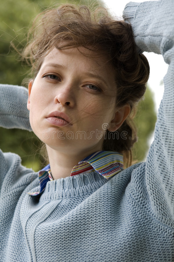 Download Portrait of a young woman stock image. Image of blue, adult - 7277133