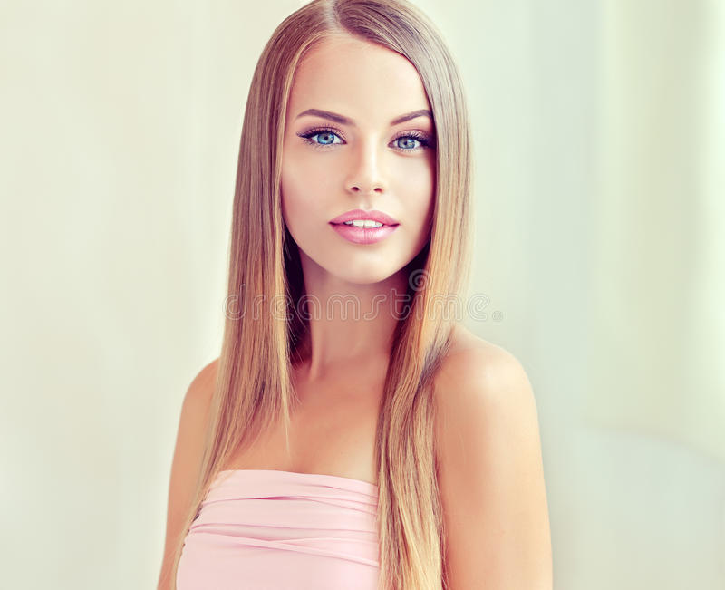 Portrait of young woman blond with clean fresh skin and soft, delicate make up. royalty free stock photos