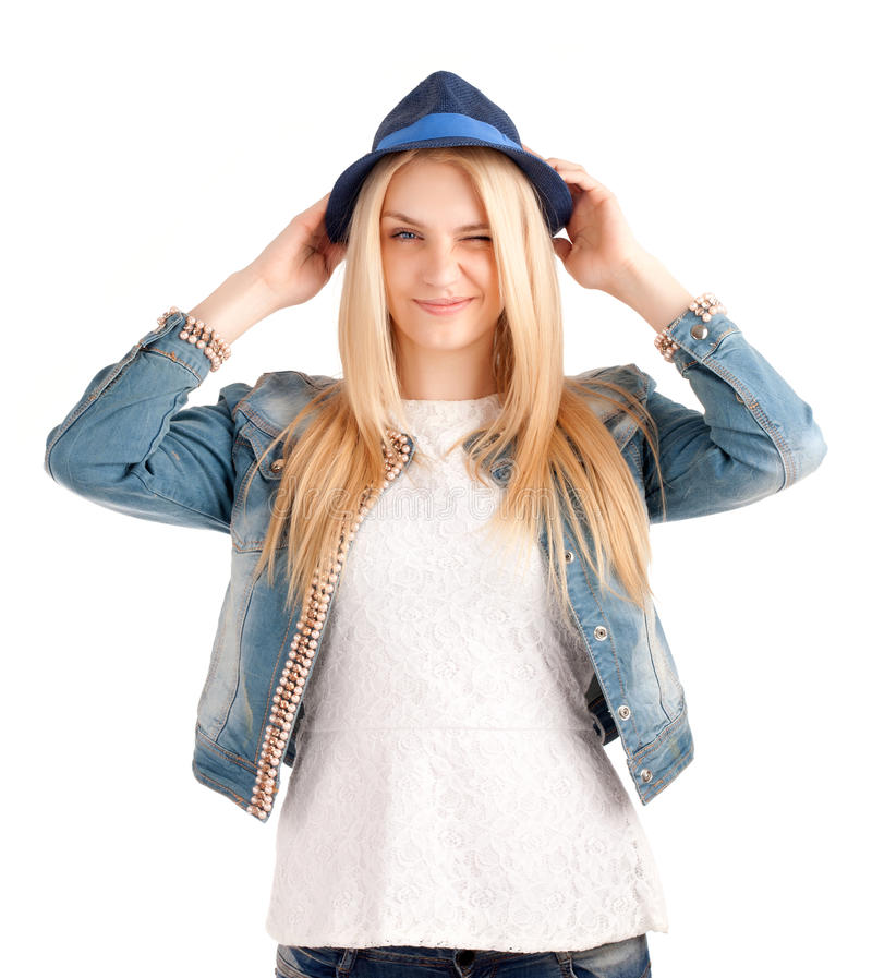 Download Portrait Of Young Woman In Blue Hat Stock Photo - Image: 30088904