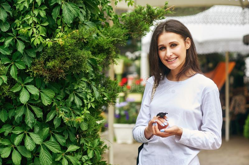 Portrait of a young woman on a city street royalty free stock photo