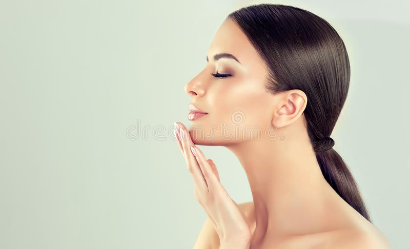 Portrait of young woman with clean fresh skin and soft, delicate make up. Woman is touching to own face tenderly. royalty free stock photo