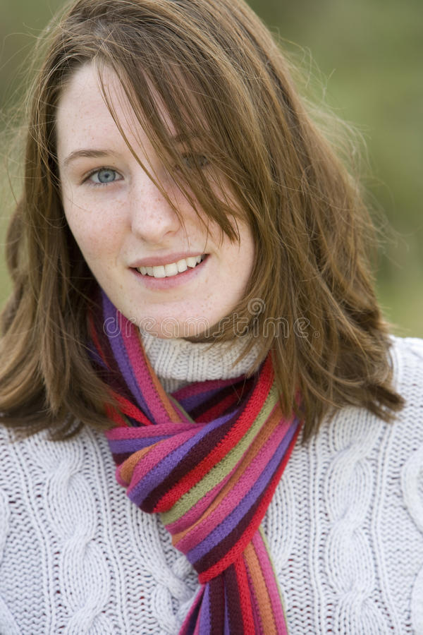 Portrait of young woman, close-up stock images