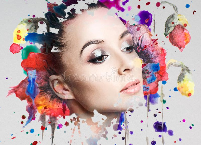 Portrait of young woman and colorful paint blots. stock illustration